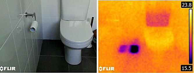Using a thermal imaging camera to find a cold water leak in Canberra