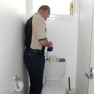 Leakin Toilets Plumber replacing a toilet inlet valve